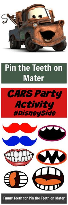 Disney CARS Party Ideas: Pin The Mouth On Mater We had a blast at our Disney Cars party a few weeks ago. One of our Cars themed party activities was Pin The Teeth On Mater. Great for CARS party planning. Disney Cars Party, Disney Cars Birthday, Car Themed Parties, Cars Birthday Parties, Birthday Games, 2nd Birthday, Birthday Ideas, Birthday Stuff, Auto Party