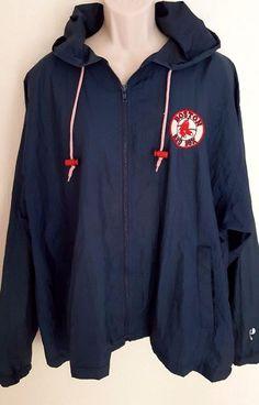 Boston Red Sox Windbreaker Jacket XL Hooded Zip Up MLB Pro Player #ProPlayer #Windbreaker