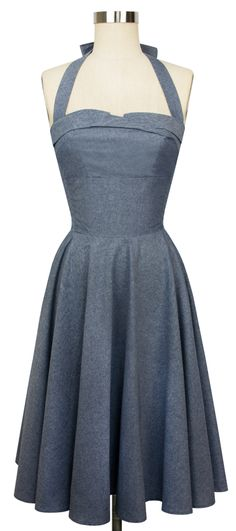 Kick country western into retro style with Trashy Diva's classic Trixie Dress in our Chambray Collection. This easy to fit 1950's inspired style is perfect for summertime weather. With a circle skirt and elastic sides, the Trixie molds to your form. The draped front covers a structured under bodice (akin to a bra) that provides some lift and support aided by the skinny straps. #trashydivachambray #trashydivatrixiedress