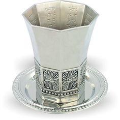 Beautiful  Kiddush Cup & Plate Set. From Jerusalem. Kabala Blessing jewish