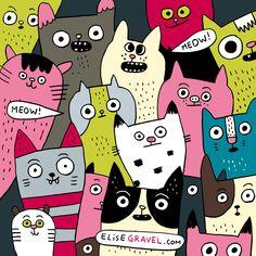Elise Gravel illustration • cats