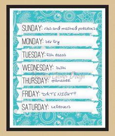 Dry Erase Menu Planning Kitchen Art Print. $15.00, via Etsy.