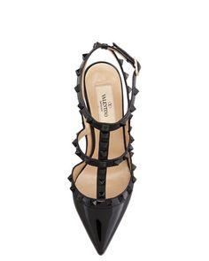 Valentino Rockstud Patent Slingback Sandal, Black - Bergdorf Goodman