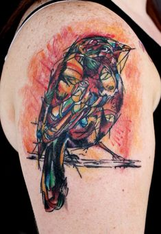 I love the use of color in these tattoos!
