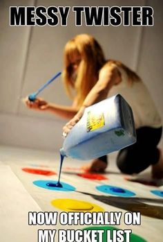 Messy Twister but with glow in the dark paint!