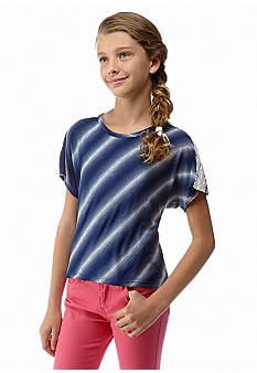 Red Camel Girls® Stripe and Lace Top Girls 7-16