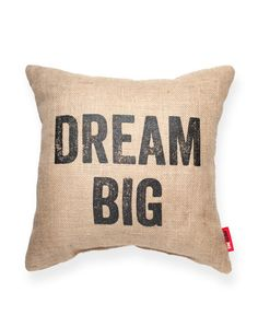 Dream Big Burlap Throw Pillow | POSH365INC