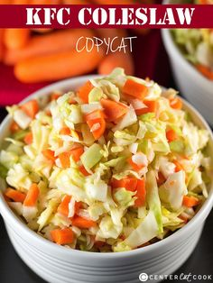A KFC Coleslaw Copycat recipe! The dressing tastes almost identical to the original thanks to one key ingredient.