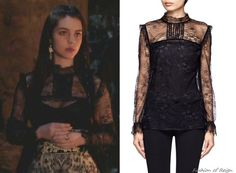 In the twentieth episode Mary wears this sold out Maje Duree Lace Blouse in black. Worn with Gillian Steinhardt labyrinth and signet rings.