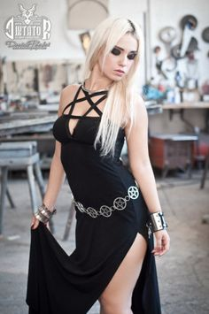 Black Pentagram Cleavage Evening Dress by DiktatorFashionLab, €215.00
