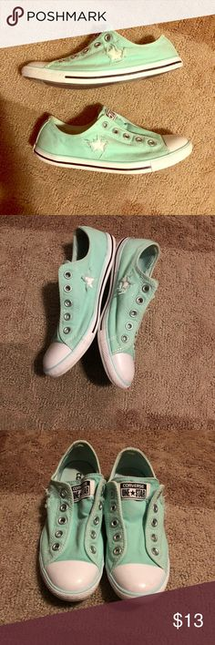 Converse slip on Minimally used mint green converse slip ons without laces. Mild staining on inside of left shoe, otherwise in great condition!! Converse Shoes Sneakers