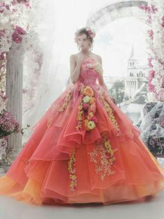 Shades of orange wedding gown by Matsuo