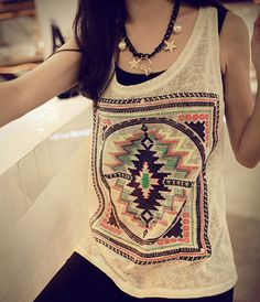 Gender: Women Decoration: None Clothing Length: Regular Pattern Type: Geometric Style: Casual Brand Name: T-east Material: Polyester Fabric Type: Broadcloth Tops Type: Tank Tops