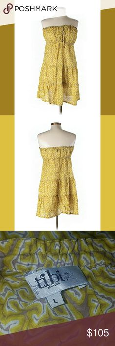 Tibi strapless dress Strapless neckline Golden yellow and brown Printed 100% cotton   Very top is 14in across  Length from top to bottom is 29in  If you have never worn Tibi note the measurements. Tibi Dresses