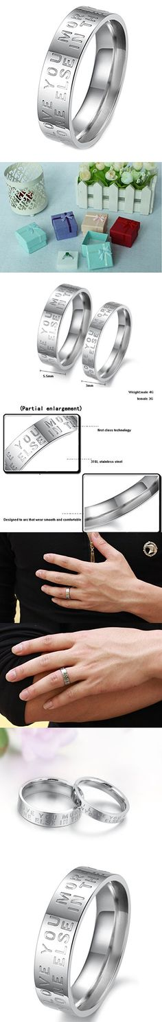 """Geminis Fashion Jewelry """"I Love You More Than Anyone Else in the World"""" Stainless Steel Promise Couple Ring----Men's Ring;Size 7"""