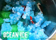 Create a giant ocean sensory playscape on your back porch complete with ocean ice, spaghetti seaweed, and floating jellyfish!