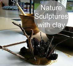 nature play with clay at preschool