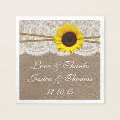 The Rustic Sunflower Wedding Collection Paper Napkin