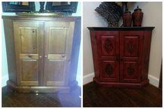 Corner cabinet before after.