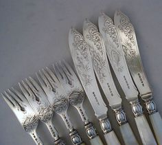 Decorative Victorian Silver Mother of Pearl Fish Cutlery HM 1865 6 7 | eBay