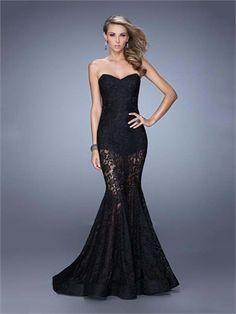 Black Mermaid Sweetheart Lace Low Back Long Prom Dress PD12066