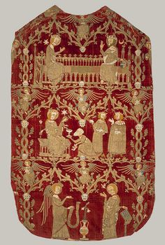 1330–1350, England. Chasuble. Silk and silver–gilt thread and colored silks in underside couching, split stitch, laid–and–couched work, and raised work, with pearls on velvet. The back view of this one shows three scenes embroidered directly on the velvet field: the Coronation of the Virgin, the Adoration of the Magi, and the Annunciation. They are placed within a framework of intertwining oak branches decorated with animal faces as well as hanging acorns completely fashioned from pearls.