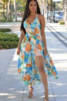 Multi Floral Print V Neck Sexy Maxi Dress #Multi #Dress #maykool