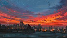 Aesthetic Sunset Anime Wallpaper HD