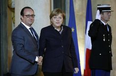 Hollande recebe Merkel e pede mais auxílio contra EI. (foto: EPA)