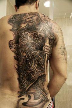 Back tattoo. Chinese warrior. | 블랙앤그레이(Black & Grey ...