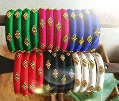 Items similar to Silk thread bangles set 4 , rhinestone,ball chain ,thread bangles . Silk Thread Earrings Designs, Silk Thread Bangles Design, Silk Thread Necklace, Silk Bangles, Bridal Bangles, Thread Jewellery, Bangles Making, Jewellery Making, Jewelry Making Tutorials