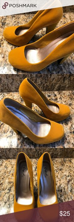 Yellow/Gold velvet Qupid heels Yellow/gold velvet Qupid heels 4 inch heels The color of the shoe in this picture is representative of the color in person Worn a couple of times. There are a few marks at the toe as you can see in the pictures but for the most part it's unnoticeable. Other than that they are in pristine condition Really cute heels and perfect for summertime! Qupid Shoes Heels