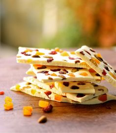 White Chocolate Bark made with dried cranberries, dried apricots, and pistachios
