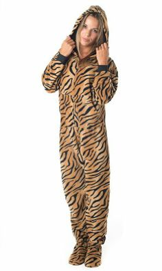 Footed Pajamas offer the best Footed Pajamas Tiger Stripes Adult Hoodie One Piece - Large. #pajamas #footed