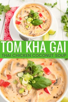 This Tom Kha Gai Soup recipe also known as Chicken Coconut Soup is an incredibly aromatic and flavorful Thai dish made with chicken mushrooms peppers in a creamy coconut broth. Chicken Coconut Soup, Coconut Curry Soup, Soups With Chicken Broth, Pho Soup Recipe Chicken, Spicy Thai Soup, Coconut Curry Chicken Soup, Coconut Milk Soup, Chicken Recipes, Gourmet
