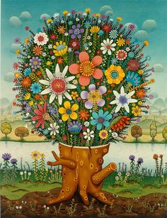 The naive art of Josip Generalić son of Ivan Generalic - Today Pin Art Floral, Simple Subject, The Giving Tree, Fabian Perez, Art Brut, Wow Art, Naive Art, Watercolor Drawing, Outsider Art