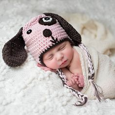 Puppy Love Pink and Brown Baby Girl Baby Hat #Melondipity
