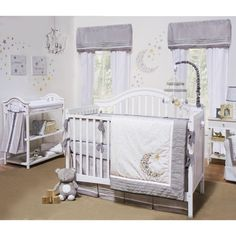 The Petit Tresor Nuit 4 piece crib bedding set features a sophisticated arrangement of grey and white with accents of yellow in 100-percent cotton sateen, faux linen and twill fabrics.