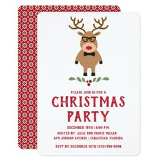 Nerdy Reindeer Christmas Party Invitation - Xmas ChristmasEve Christmas Eve Christmas merry xmas family kids gifts holidays Santa