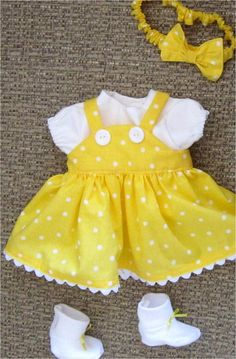 15 Baby Doll Clothes Yellow and White Polka Dot