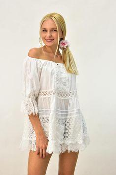 Κοντό φόρεμα για θάλασσα με δαντέλα | POTRE Beachwear, Cover Up, Summer Dresses, Fashion, Beach Playsuit, Moda, Beach Outfits, Summer Sundresses, Fashion Styles