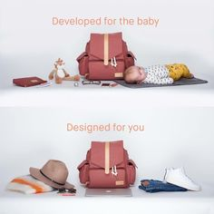 """Babybag, backpack, potatoe, potato. The Ransel is all about smartness and style, hunwear as you like☝️#babybag #nappybag #diaperbag #stelleveske #backpack the marsala version is currently shipping to Europe and Norway from itskaos.com plus you can get it from @konstabelshop @lilleprinsen_no if you're in Norway changing mat and separate clutch included. And it perfectly fits a 15"""" laptop photo: @byaksel and thanks to Mikkel the baby for striking very professional poses"""