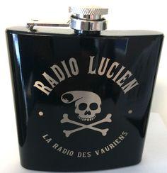 Flasque Frank Margerin gravée par laser. Motif : Radio Lucien Vente exclusive par KCL Fabriqué en France par KCL Made in France by KCL