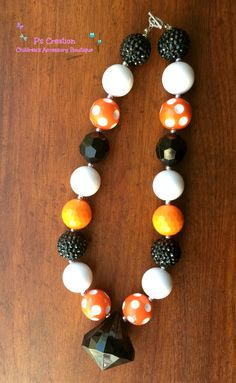 Bangles+Inspired+Chunky+Necklace+orange+black+and+by+PsCreation