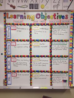 Learning Objectives display shows the WHAT of learning (the objectives), the WHY of learning (connection to overall Unit understanding) and the HOW of learning (indicators of success). KEEPS STUDENTS FOCUSED Learning Objectives Display, Objectives Board, Classroom Objectives, Learning Target Display, Daily Objectives, Posting Objectives, Displaying Objectives, Classroom Agenda Board, Classroom Data Wall