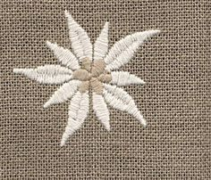 White cotton edelweiss flower on linen. Embroidery Thread, Embroidery Applique, Cross Stitch Embroidery, Machine Embroidery, Alpine Flowers, Thread Painting, Thinking Day, Embroidery Techniques, Embroidered Flowers
