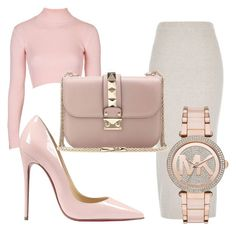 """xo"" by vanessabeckham ❤ liked on Polyvore featuring Topshop, River Island, Christian Louboutin, Valentino and Michael Kors"