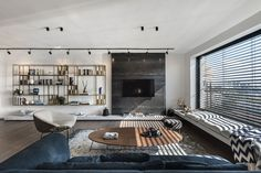 Apartment In An Old Established Building In Tel Aviv - Picture gallery Living Room Windows, Living Room Tv, Home And Living, Living Room Furniture, Living Spaces, Small Living, Studio Apartments, Cool Apartments, Decor Interior Design