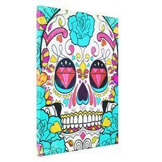 Hipster Sugar Skull and Teal Blue Floral Roses Gallery Wrapped Canvas