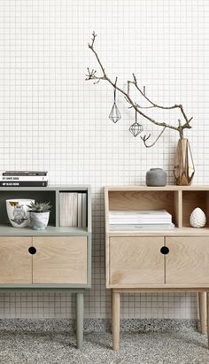 Small Closet / wood / greysih green / Hubsch Interior / Danish Design